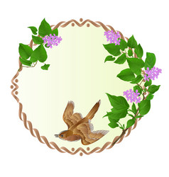 Floral round frame with purple lilac and bird vector