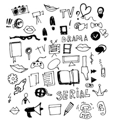 Visual media doodle vector