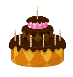 Chocolate cake with burning candles vector