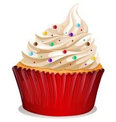 Cupcake with cream and sprinkles vector