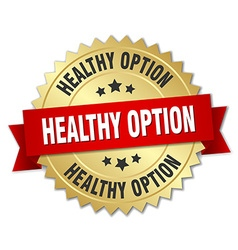 Healthy option 3d gold badge with red ribbon vector