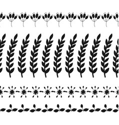 black silhouette of plants decorative border of vector image vector image