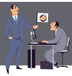 Boss encouraging an employee vector