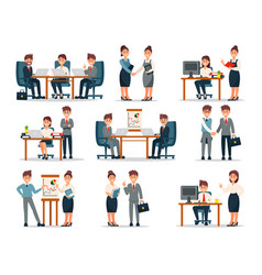 business people characters at work set male and vector image