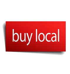 Buy local red paper sign isolated on white vector