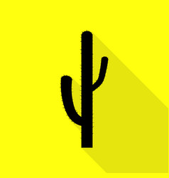 Cactus simple sign black icon with flat style vector