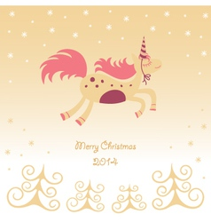 Christmas card with a running horse dreamy vector image