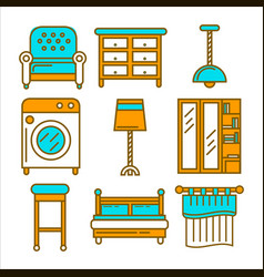 Colorful cartoon furniture isolated flat vector