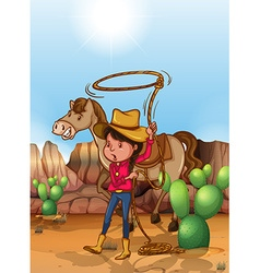 Cowgirl with lassoo in desert vector