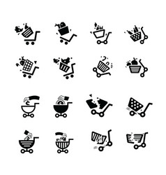 Damage shopping cart and hand icons vector