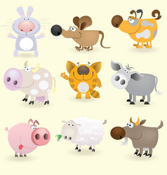 domestic animals set vector image vector image