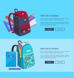 First day at school poster with schoolbag and book vector