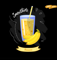 glass of smoothies on black background banana vector image vector image