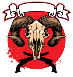 Goat skull head with crossed guns vector