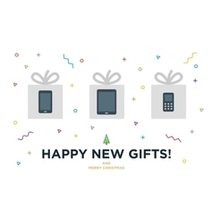 Happy New Gifts Christmas Card with Gadget in vector image vector image