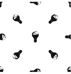 light bulb and planet earth pattern seamless black vector image vector image