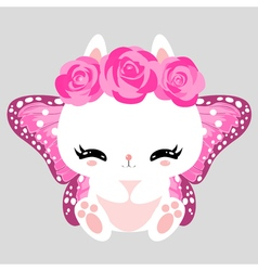 Little cute white bunny with pink roses and vector image vector image