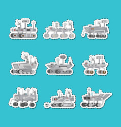 Mars rovers isolated labels set vector