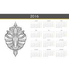 Modern calendar 2016 with monkey in German Ready vector image