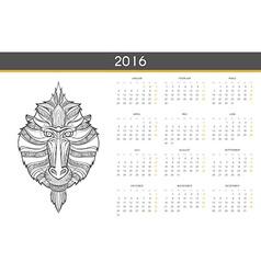 Modern calendar 2016 with monkey in german ready vector