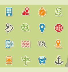 Navigation ransport map icon set vector