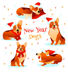 New year dogs vector