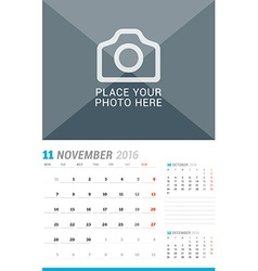 November 2016 wall monthly calendar for 2016 year vector