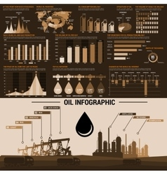 Oil industry infographics design template vector image