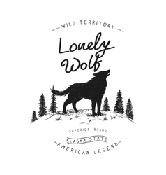 Old label with wolf vector