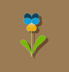 Paper sticker on stylish background plant viola vector