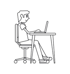 Pictogram man working front computer with pc vector
