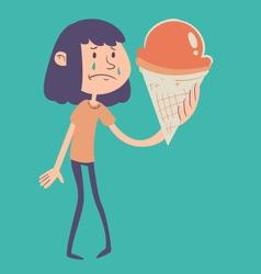 Sad Girl Holding Ice Cream vector image vector image