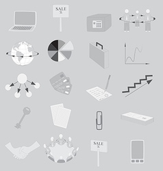 Set with grayscale business icons vector