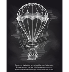 Sketch hot air balloon on blackboard vector