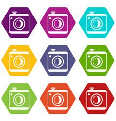 vintage photo camera icon set color hexahedron vector image vector image