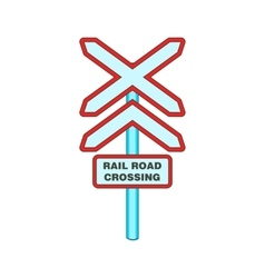 Sign rail road crossing icon cartoon style vector