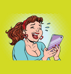 Comic girl laughing to tears reading a smartphone vector