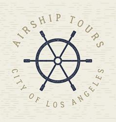 vintage airship tee design retro dirigible poster vector image