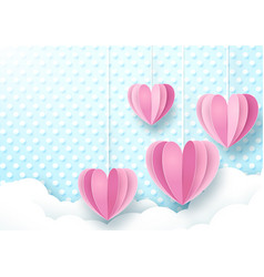 Hearts hanging cute soft blue and white background vector