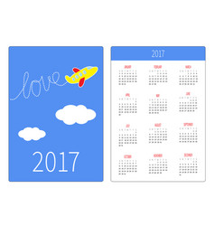 pocket calendar 2017 year week starts sunday vector image