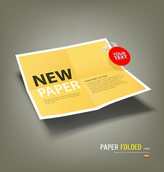 Yellow paper folded four fold for business vector