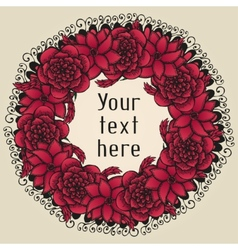 Round floral wreath like bouquet of red flowers in vector image