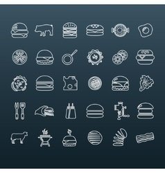 Hamburger outline icons vector