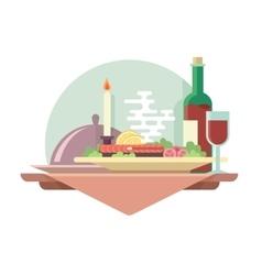 Dinner at restaurant vector