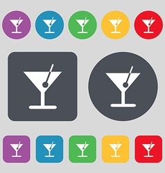 Cocktail icon sign a set of 12 colored buttons vector