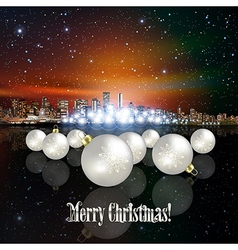 Abstract christmas with panorama of city and white vector
