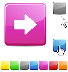 Arrow glossy button vector