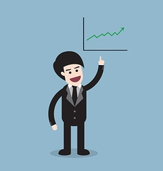 Stock raise up high with business man and graph vector