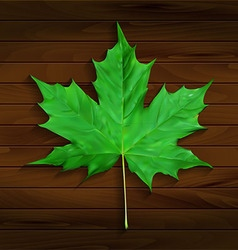 Realistic maple leaf on wooden background vector