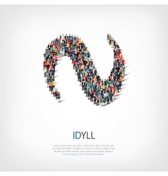 Idyll people sign 3d vector